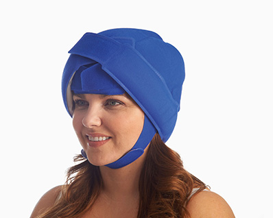 Lady wearing cold cap
